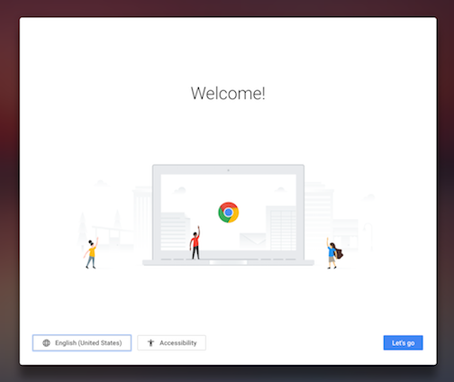 Chrome OS welcome screen with US region selected