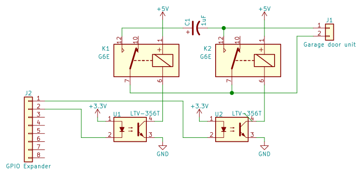 Schematic of first attempt with optoisolated relays